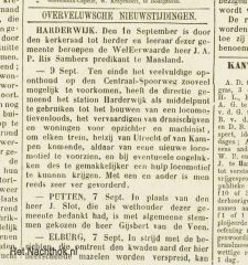 Start Depot spoor Overveluwsch Weekblad 11 september 1875